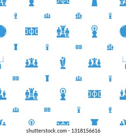 championship icons pattern seamless white background. Included editable filled ranking, trophy, football pitch, goal post, fotball icons. championship icons for web and mobile.
