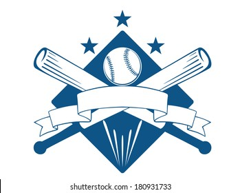 Championship or league baseball emblem logo with a blank wavy ribbon banner with copyspace over crossed bats and a ball superimposed on a diamond with stars, blue and white