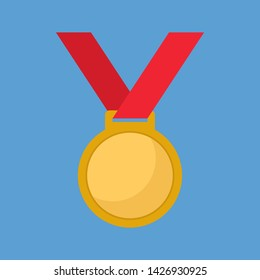 Championship medal icon flat design vector illustration