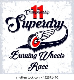 Championship Superdry vector T-shirt design.