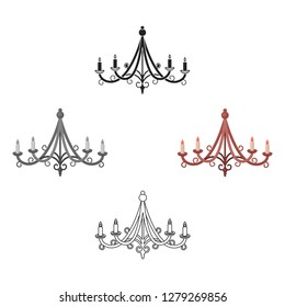 Chandelier icon in cartoon style isolated on white background. Light source symbol stock vector illustration