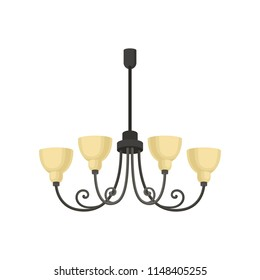 Chandelier, interior design element vector Illustration on a white background