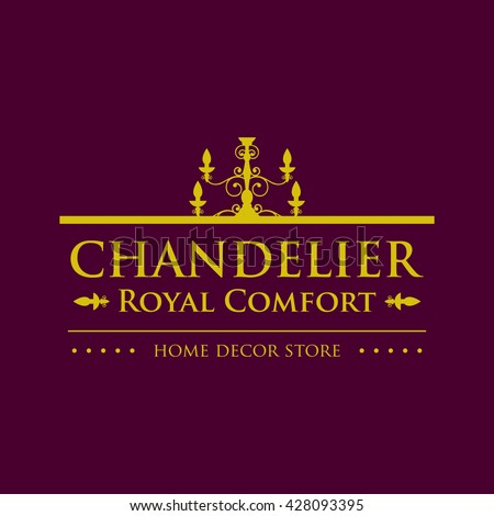 Chandelier Luxury Vintage Elegant Logo Home Stock Vector Royalty