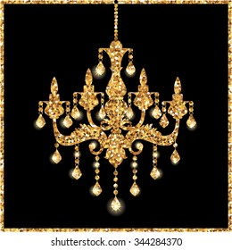 Chandelier silhouette isolated on black background with gold glitter stars, lights, sparkles. Vector illustration