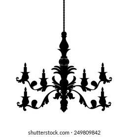Chandelier silhouette isolated on White background. Vector illustration