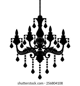 Chandelier stock images royalty free images vectors shutterstock chandelier silhouette isolated on white background vector illustration aloadofball Images
