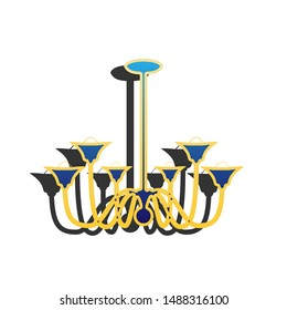 Chandelier simple sign. Blue icon with gold contour with dark gray shadow at white background. Illustration.
