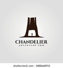 chandelier tree tunnel on redwood national park logo vector illustration design