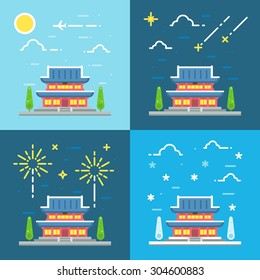 Chandeokgung palace flat design illustration vector
