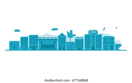 Chandigarh - The City Beautiful skyline. Detailed Vector Illustration. isolated on white background.