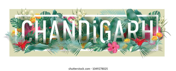 chandigarh City Typographic Floral Framed Vector Card Design