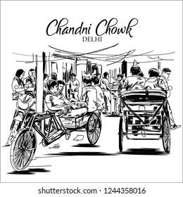 Chandni chowk old Delhi sketch vector illustration