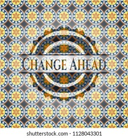 Change Ahead arabesque badge. arabic decoration.