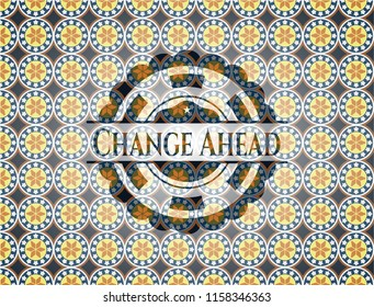 Change Ahead arabic emblem background. Arabesque decoration.