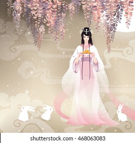 Chang'e, the Chinese Goddess of Moon with moon cake. Vector illustration cartoon mid autumn festival. Golden brown background, white  rabbits, wisteria flower waterfall. Watercolor style.