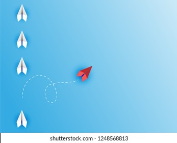 Change Group of paper plane change disruptive  in one direction and with one individual pointing in the different way. Business concept for change  new ideas creativity and innovative solution disrupt