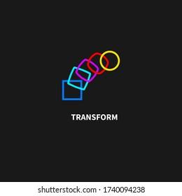 Change icon, transformation, evolution, development, coaching color logo. Vector illustration