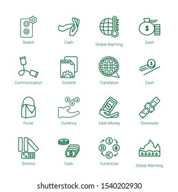 change icons. Editable 16 change icons. Included icons such as Switch, Cash, Global warming, Communication, Content, Translation, Purse, Currency. change trendy icons for web.