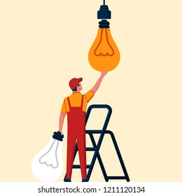 Change lamp. Replacing the light bulb. Electrician changes the broken lamp. Vector illustration flat design. Isolated on white background. Innovation in lighting. Technical worker.
