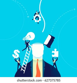 Change of mind concept business illustration, businessmen team helping with new creative ideas. EPS10 vector.