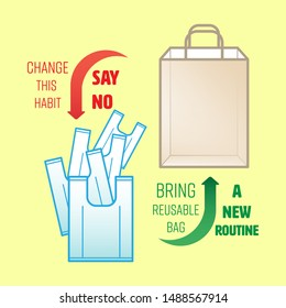 Change from single-use plastic bag to reusable bag. Bring your own reusable bag symbol. Change habit to new routine. Vector illustration outline flat design style.
