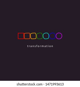 Change, transformation, evolution, development, coaching icon, color rainbow logo. Vector illustration