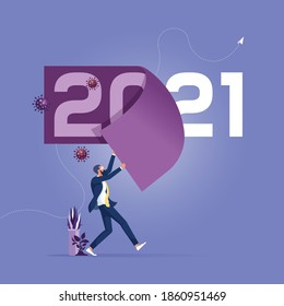 Change year from 2020 to 2021 calendar or new challenge coming concept, Year changing to 2021 from 2020 Coronavirus COVID-19 outbreak