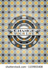 Change your Life arabic style emblem. Arabesque decoration.