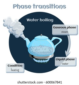 Changes of states. Part 2 of 6. Evaporation - water boiling. Phase transition from liquid to gaseous state. Educational infographics. Cartoon vector illustration in flat style.