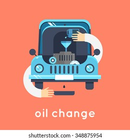 Changing Engine Oil car. Flat style vector illustration