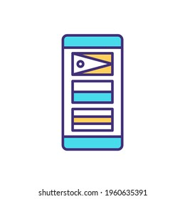Changing language on phone RGB color icon. Country selection. Updating language settings on smartphone. Choosing preferred settings. Keyboard input. Multilingualism. Isolated vector illustration