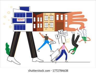 Changing neighborhood. People are moving from neighbourhood to cheaper location.  Contrast between new modern buildings and old house. Gentrification protest. Flat vector cartoon illustration