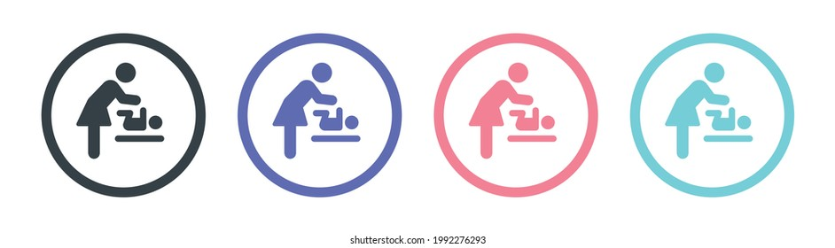 Changing station restroom sign vectors icon. Woman changing diaper of baby symbol on circle button.