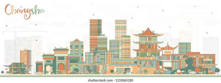 Changsha China City Skyline with Color Buildings. Vector Illustration. Business Travel and Tourism Concept with Modern Architecture. Changsha Cityscape with Landmarks.