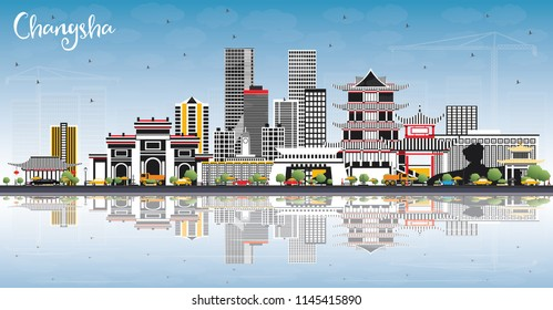 Changsha China City Skyline with Gray Buildings, Blue Sky and Reflections. Vector Illustration. Business Travel and Tourism Concept with Modern Architecture. Changsha Cityscape with Landmarks.