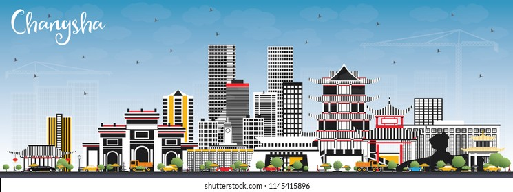 Changsha China City Skyline with Gray Buildings and Blue Sky. Vector Illustration. Business Travel and Tourism Concept with Modern Architecture. Changsha Cityscape with Landmarks.