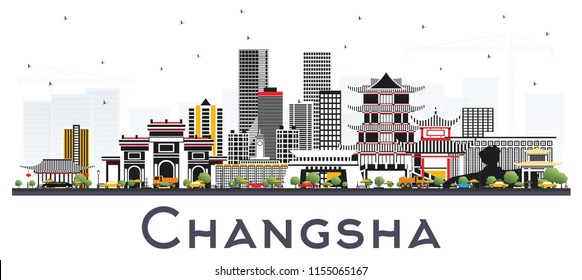 Changsha China City Skyline with Gray Buildings Isolated on White. Vector Illustration. Business Travel and Tourism Concept with Modern Architecture. Changsha Cityscape with Landmarks.
