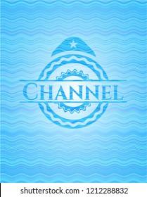 Channel water wave representation emblem background.