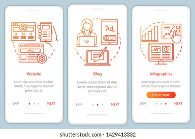 Channels for SEO orange onboarding mobile app page screen vector template. Marketing. Blog, website walkthrough website steps with linear illustrations. UX, UI, GUI smartphone interface concept