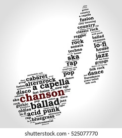 Chanson. Word cloud, musical notes, gradient gray background. Variety of music.