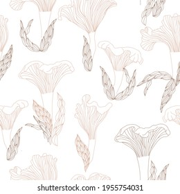 Chanterelles mushrooms pattern in line style. Isolated vector illustration. Seamless print.