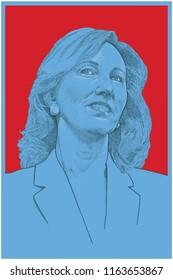 Chantilly, Virginia / United States - August 15, 2018: Portrait of Congresswoman Barbara Comstock