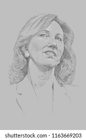 Chantilly, Virginia / United States - August 15, 2018: Black and White Stippled Portrait of Congresswoman Barbara Comstock