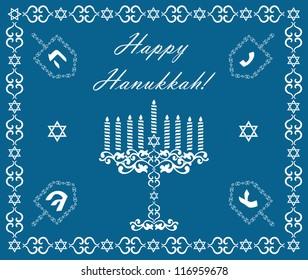 Chanukah holiday background with dreidels and khanukiyah, vector illustration