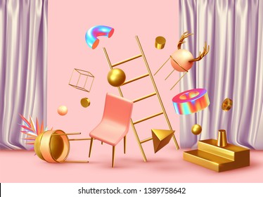 Chaos abstract background with 3d objects. Realistic geometric shapes. Design mess.