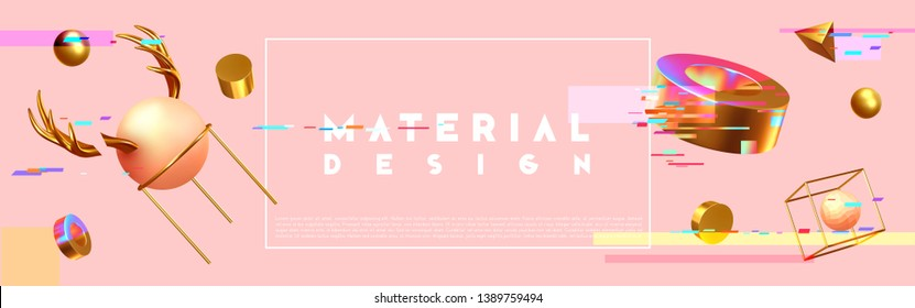 Chaos abstract background with 3d objects. Realistic geometric shapes. Design mess. Horizontal poster, cover headers, Banner website. vector illustration