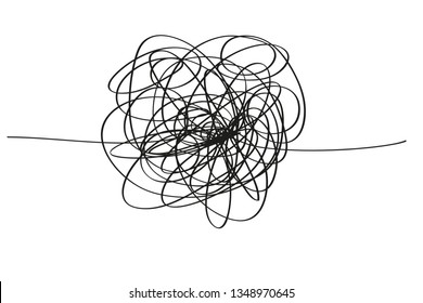 Chaos. Abstract tangled texture. Random chaotic lines. Hand drawn dinamic scrawls. Black and white illustration. Background with lines. Universal pattern