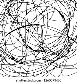 Chaos background. Chaotic lines, doodles. Hand drawn scribbles. Wavy messy lines. Vector illustration