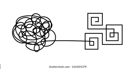 From chaos to order. Tangled, messy, chaotic knot and organized, solved. Vector line concept of mind, psychotherapy, mental problem solving, organized and disorganized brain, therapy, disorder.