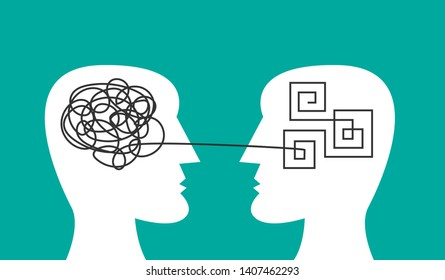From chaos to order. Two faces, one with tangled knot in head, second have ordered mind. Vector line concept of psychotherapy, mental problem solving, organized and disorganized brain, therapy.